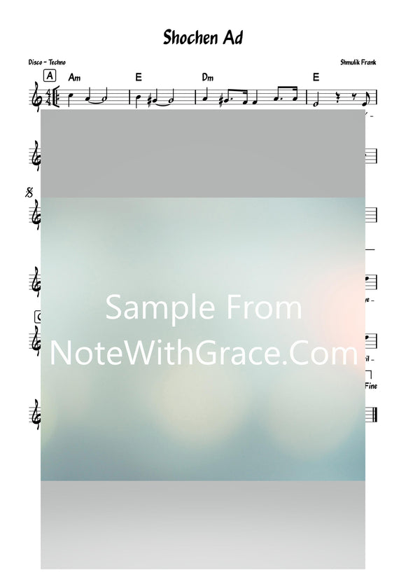 Shochen Ad - שוכן עד Lead Sheet (Shmulik Frank) Single Video 2020-Sheet music-NoteWithGrace.com