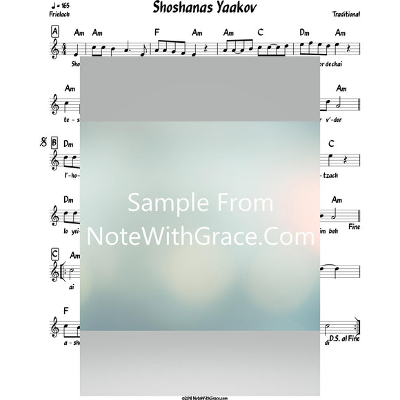 Shoshanas Yaakov Lead Sheet (Traditional) Purim-Sheet music-NoteWithGrace.com