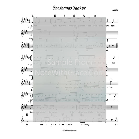 Shoshanas Yaakov Lead Sheet (Moditz) Purim-Sheet music-NoteWithGrace.com