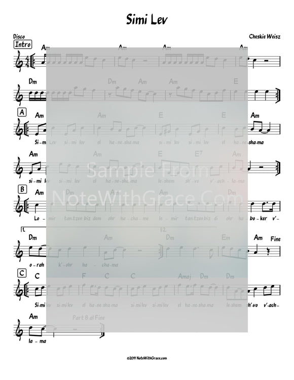 Simi Lev Lead Sheet (Cheskie Weiss) Album: Lev El Haneshama 2019-Sheet music-NoteWithGrace.com