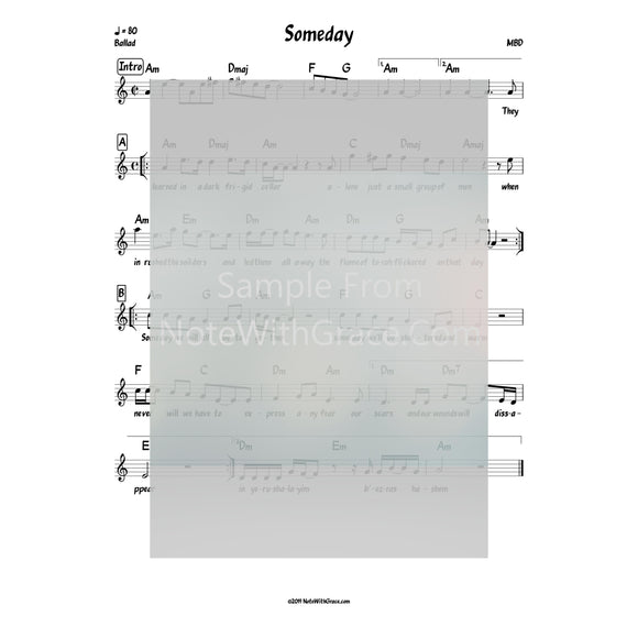 Someday Lead Sheet (MBD) Album Moshiach Released 1998-Sheet music-NoteWithGrace.com