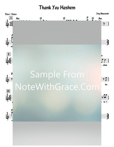 Thank You Hashem Lead Sheet (Joey Newcomb) New Single Video-Sheet music-NoteWithGrace.com