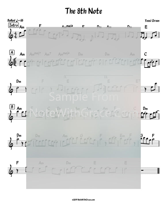 The 8th Note Lead Sheet (Yossi Green) Album: The 8th Note (Released 2008)-Sheet music-NoteWithGrace.com