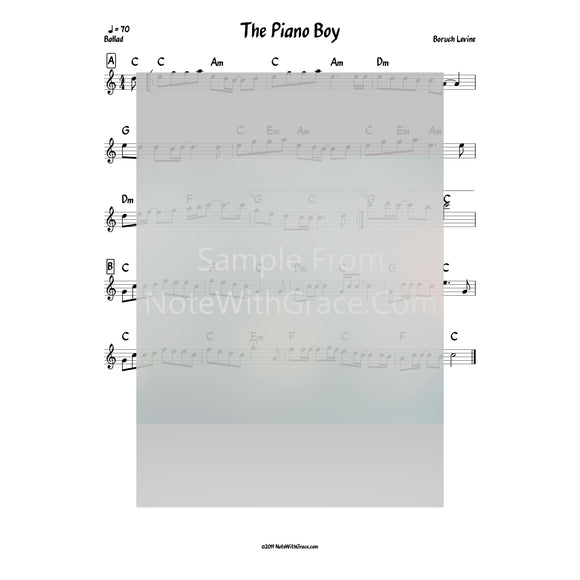 The Piano Boy Lead Sheet (Boruch Levine) Album: Touched By a Niggun Released 2009-Sheet music-NoteWithGrace.com