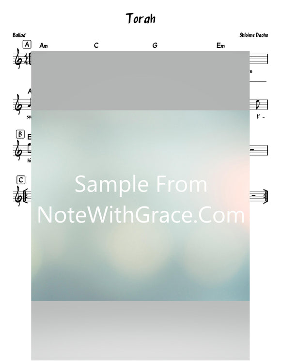 Torah - תורה Lead Sheet (Shloime Dachs) Single Music Video 2020-Sheet music-NoteWithGrace.com