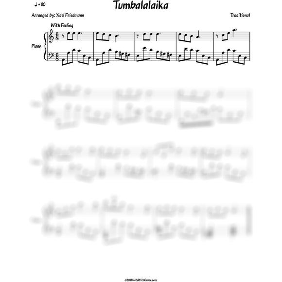 Tumbalalaika In Bass Clef (Traditional) Piano Arrangment-NoteWithGrace.com