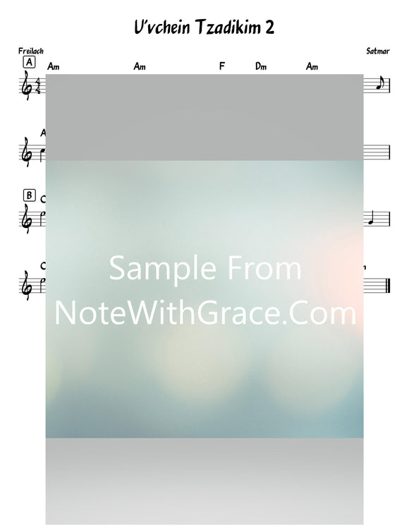 Uv'chein Tzadikim 2 Lead Sheet (Satmar)-Sheet music-NoteWithGrace.com