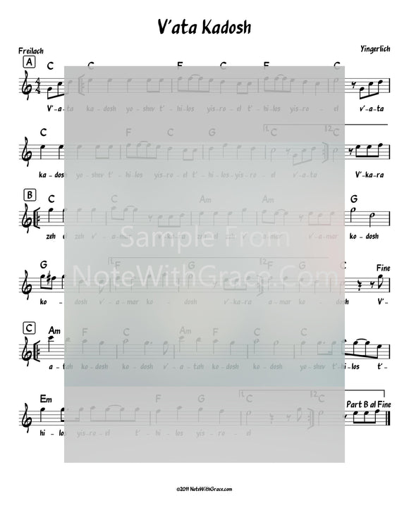 V'ata Kodosh Lead Sheet (Yingerlach) Album: Yingerlich Released 2018-Sheet music-NoteWithGrace.com