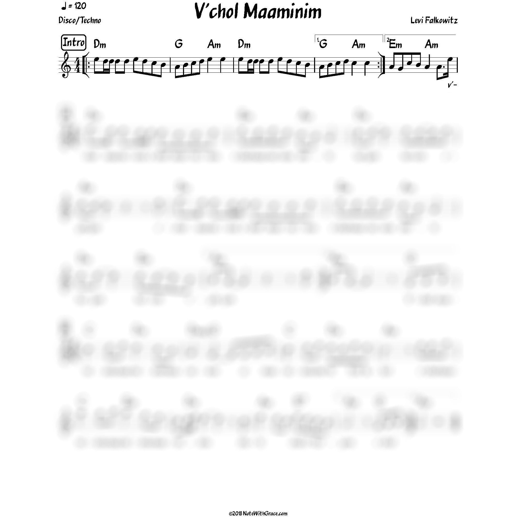 V'chol Maaminim Lead Sheet (Levy Falkowitz) Album: Toiv Lee-Sheet music-NoteWithGrace.com