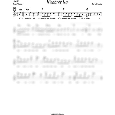 New V'haarev Na Lead Sheet (Benny Friedman/Boruch Levine) V'haarev Na 2018-Sheet music-NoteWithGrace.com