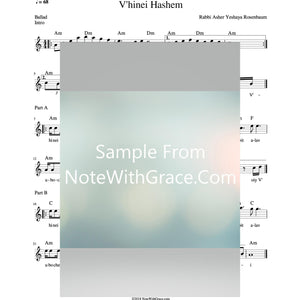 V'hinei Hashem Lead Sheet (Rabbi Asher Yeshaya Rosenbaum)-Sheet music-NoteWithGrace.com