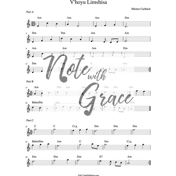 V'hoyu Limshisa Lead Sheet (Shlomo Carlbach)-Sheet music-NoteWithGrace.com