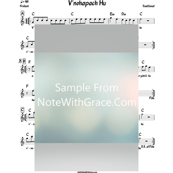 V'nahapoch Hu Lead Sheet (Traditional) Purim-Sheet music-NoteWithGrace.com