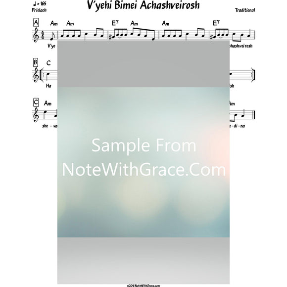 Purim Bundle Lead Sheets (Mixed Collections)-Sheet music-NoteWithGrace.com