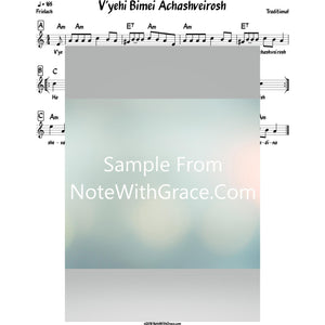 V'yehi Bimei Achashveirosh Lead Sheet (Traditional) Purim-Sheet music-NoteWithGrace.com
