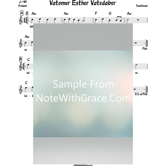 Vatosef Esther Vatedaber Lead Sheet (Satmar) Purim-Sheet music-NoteWithGrace.com