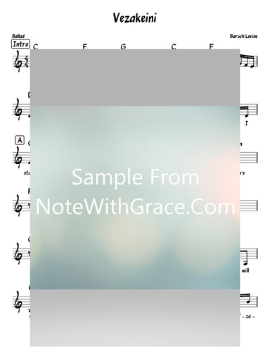 Vzakeini - וזכני Bonei Olam Lead Sheet (Benny Friedman/Boruch Levine) Single 2020-Sheet music-NoteWithGrace.com