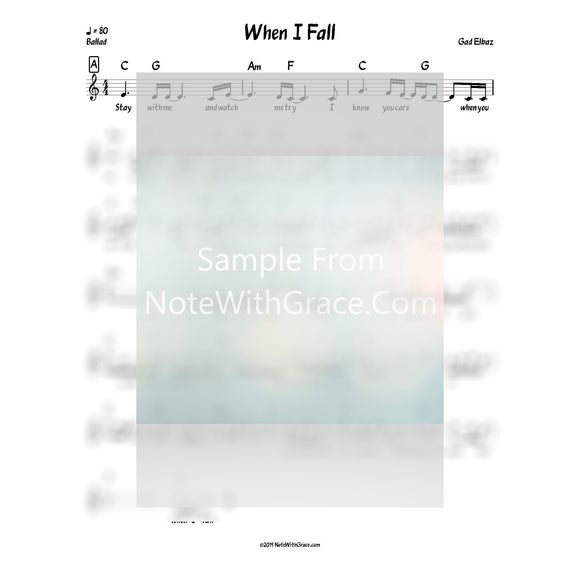 When I Fall Lead Sheet (Gad Elbaz) Album L'chaim Released 2017-Sheet music-NoteWithGrace.com
