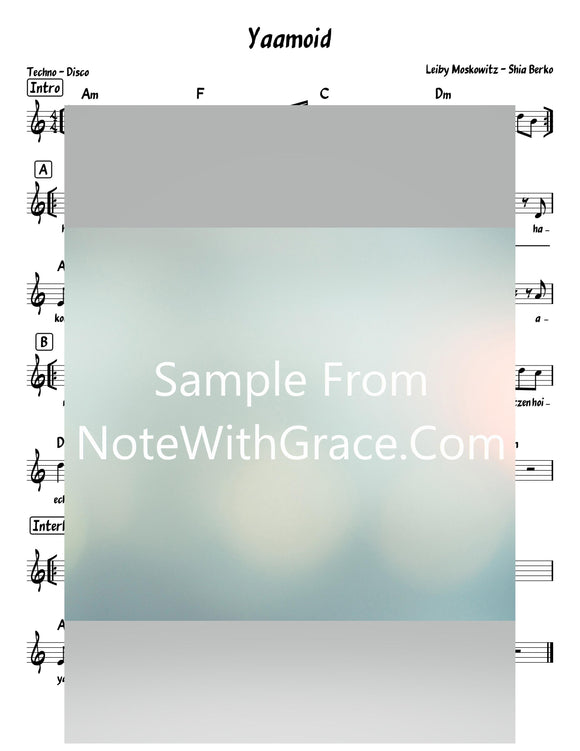 Yaamoid - יעמוד Lead Sheet (Shia Berko - Leiby Moskowitz) Single 2019-Sheet music-NoteWithGrace.com