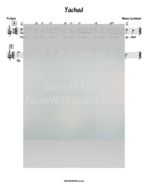 Yachad Lead Sheet (Shlomo Carlbach)-Sheet music-NoteWithGrace.com