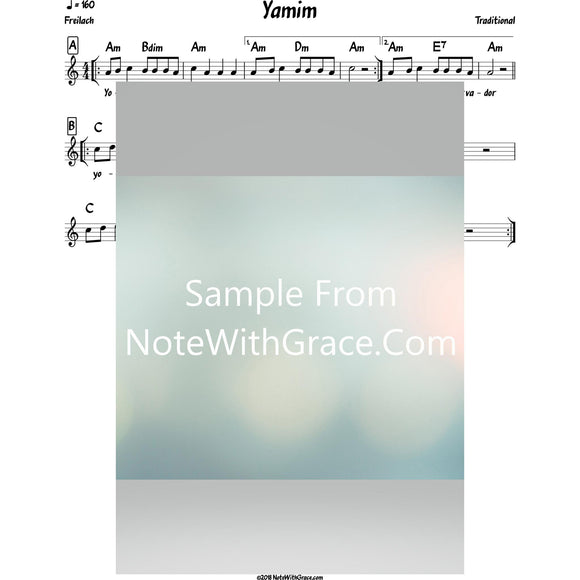 Yomim Lead Sheet (Traditional)-Sheet music-NoteWithGrace.com