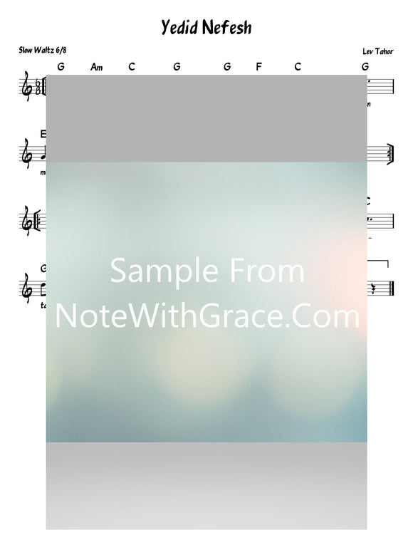 Yedid Nefesh Lead Sheet (Lev Tahor) Lev Tahor 3: An Acapella Experience 2004-Sheet music-NoteWithGrace.com