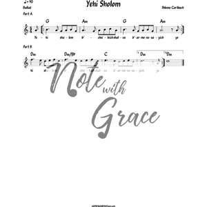 Yehi Sholom Lead Sheet (Shlomo Carlbach)-Sheet music-NoteWithGrace.com