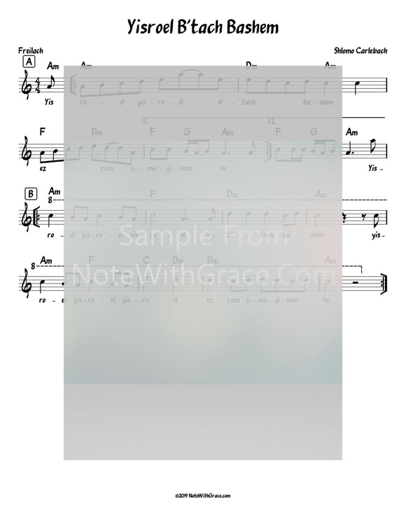 Yisroel B'tach Bashem Lead Sheet (Shlomo Carlbach)-Sheet music-NoteWithGrace.com