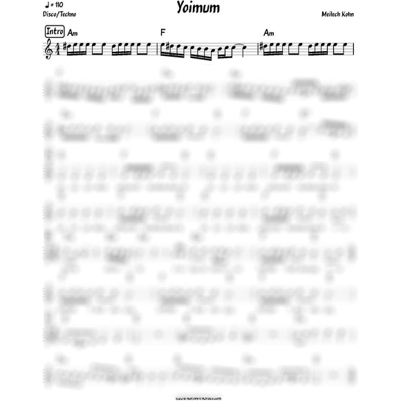 Yoimum Lead Sheet (Meilech Kohn) Album: Yeder Einer-Sheet music-NoteWithGrace.com