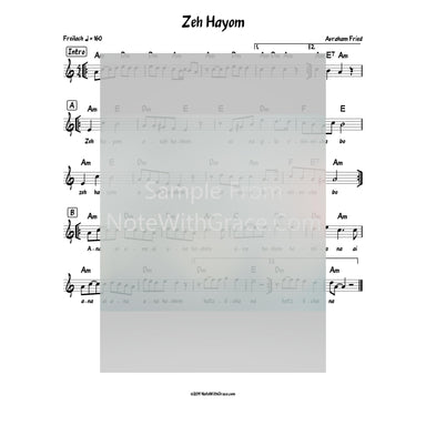 Zeh Hayom Lead Sheet (Avraham Fried) Album: Shtar Hatnaim 2010-Sheet music-NoteWithGrace.com