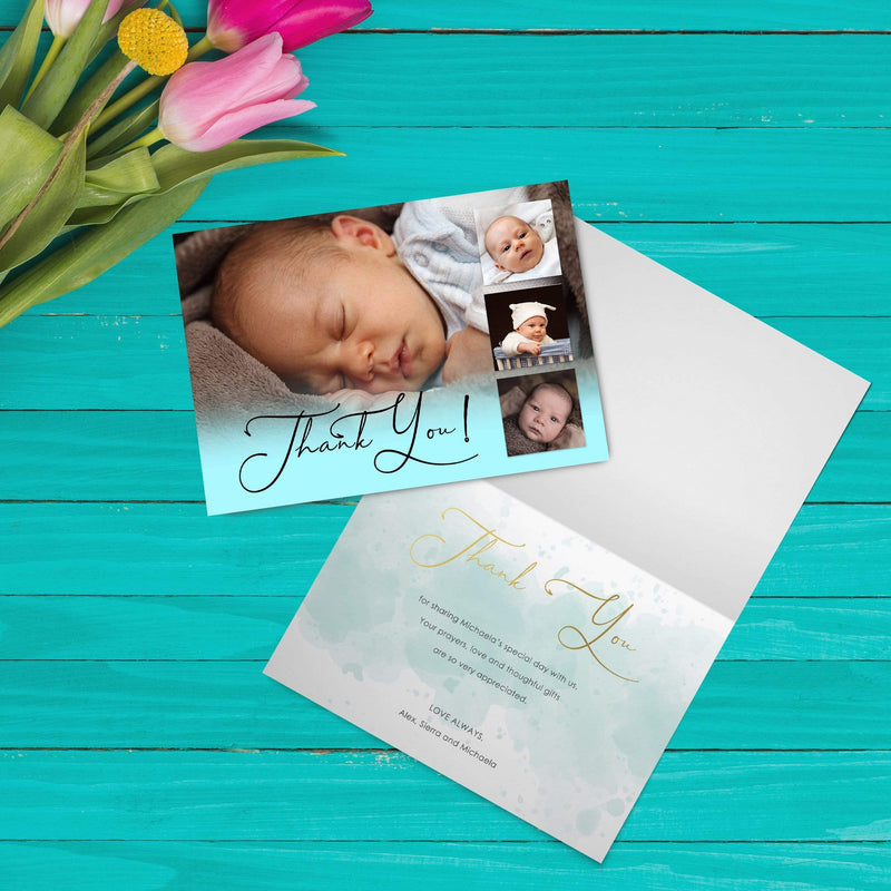 Personalised Folded Christening Thank You Cards