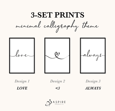 Aspire Designs 3-Set Prints in Minimal Calligraphy Theme | Home Wall Decor Print with Frame | Birthday or Anniversary Present