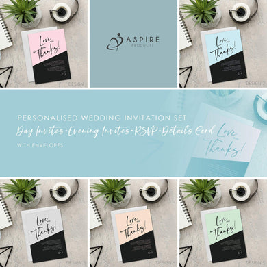 Aspire Designs Copy of Personalised A5 Simple Modern Wedding Thank You Cards