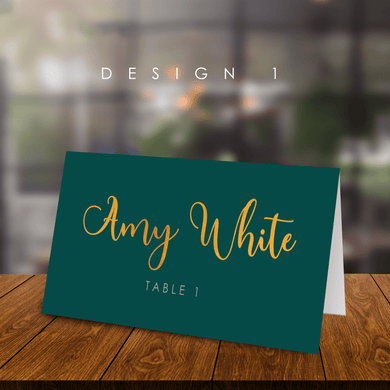 Aspire Designs Dark Colour Gold Text Wedding Table Name Place Cards | Pace Cards for Parties
