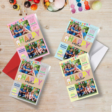Easter Cards | Personalised Family Photos | Folded Happy Greetings (A6 Size)