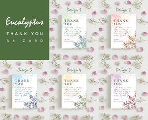 Aspire Designs Eucalyptus Wedding Theme Thank You Card | Personalised Thank You Note + Envelopes