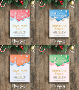 Aspire Designs Glittery Santa Theme | Personalised A5 Size Christmas Party Invitations
