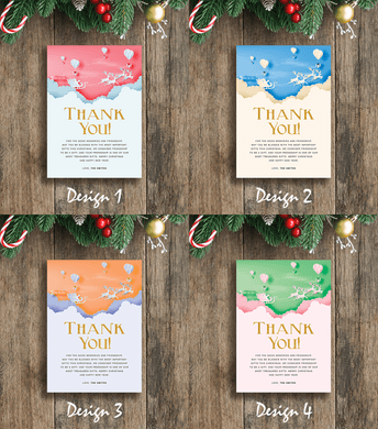 Aspire Designs Glittery Santa Theme | Personalised A5 Size Christmas Party Thank You Cards