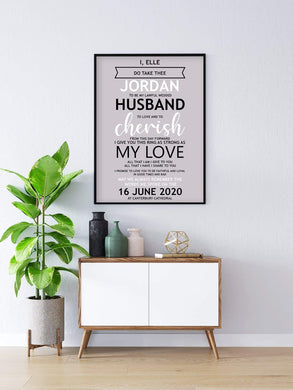 Aspire Designs House Warning Personalised Gift Wedding Vows With Names Framed Prints