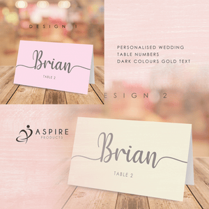 Aspire Designs Modern Calligraphy Font Table Place Name Cards for Wedding, Conference & Party
