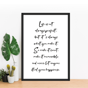 Aspire Designs Motivational 'Life's not perfect' Quotes Print | Birthday Anniversary Gift
