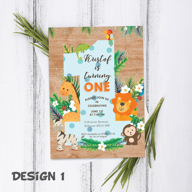 Aspire Designs Personalised 1st Birthday Jungle Safari Animal Birthday Thank You Cards