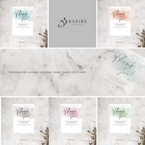 Aspire Designs Personalised A5 Watercolour Wedding Theme Thank You Cards Digital File / No / Design 5