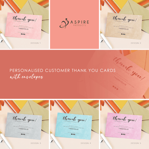 Aspire Designs Personalised A6 Customer's Thank You Cards | A6 Buyer's Thank You Note