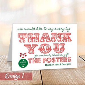 Aspire Designs Personalised A6 Folded Christmas Thank You Cards with Envelopes 1 / No / Yes