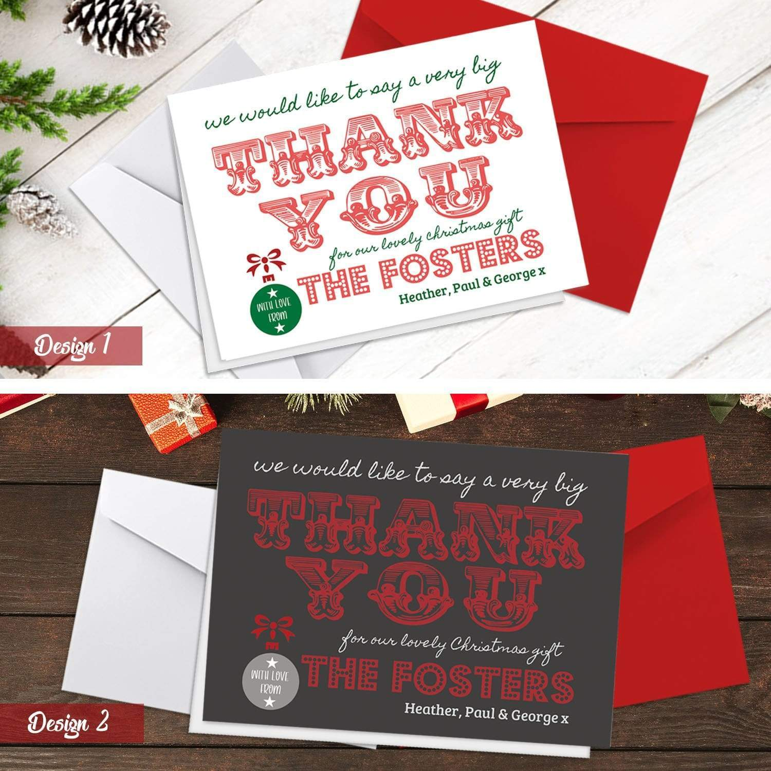 Christmas Thank You Cards.Personalised A6 Folded Christmas Thank You Cards With Envelopes