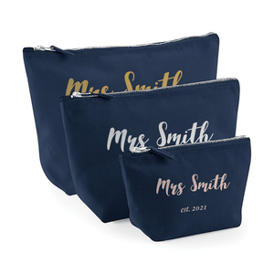 Aspire Designs Personalised Accessory Bag With Name | Mrs Est Theme | Small, Medium, Large