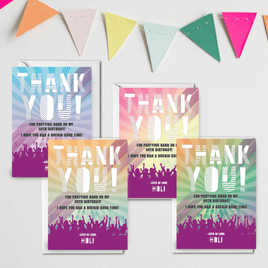 Personalised Adult Birthday Music Festival Birthday Thank You Cards