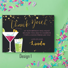 Load image into Gallery viewer, Aspire Designs Personalised Adult Sparkling Cocktail Birthday Party Thank You Cards 10 / Yes / Design 1