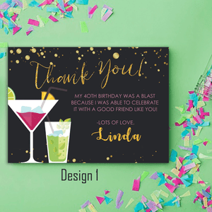 Aspire Designs Personalised Adult Sparkling Cocktail Birthday Party Thank You Cards 10 / Yes / Design 1
